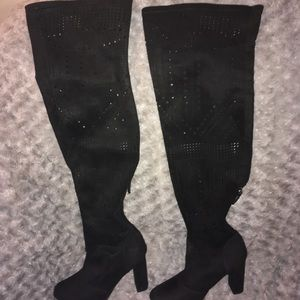 Rue 21 Black Over the Knee Laser Cut Boots Size 7